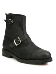 Frye Brayden Bal Engineer Leather Mid Calf Boots Black