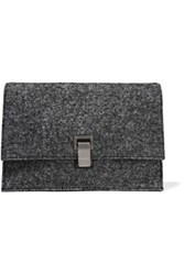 Proenza Schouler The Lunch Bag Small Felt And Leather Clutch Anthracite