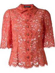 Dolce And Gabbana Lace Shirt Yellow And Orange