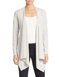 Lord And Taylor Petite Drape Neck Cashmere Cardigan Shadow Heather
