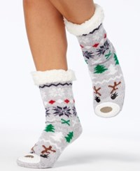 Charter Club Women's Reindeer Slipper Socks With Fleece And Grippers Created For Macy's Grey