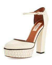 Valentino Woven Platform Ankle Strap Pump Light Ivory