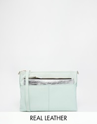 Oasis Leather Clutch With Detachable Purse Green