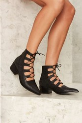 Eeight Winter Lace Up Leather Heel Black