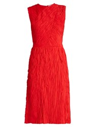 Nina Ricci Crinkle Effect Sleeveless Dress Red