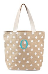 Cathy's Concepts Personalized Polka Dot Jute Tote White White O