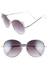 Women's Bp. 60Mm Cat Eye Corner Round Sunglasses White Gold White Gold