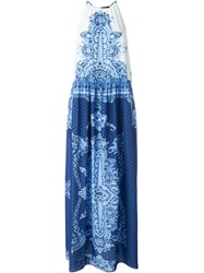 Twin Set Jeans Sleeveless Printed Maxi Dress Blue