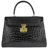 Fontanelli Shiny Black Croco Style Leather Handbag