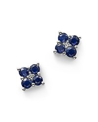 Bloomingdale's Sapphire And Diamond Stud Earrings In 14K White Gold