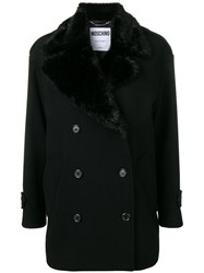 Moschino Winter Double Breasted Coat Black