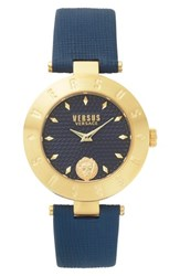 Versus By Versace Women's New Logo Leather Strap Watch 34Mm Navy Gold