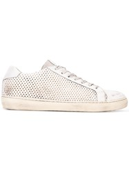 Leather Crown Perforated Sneakers White