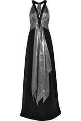 Michael Kors Collection Lame And Wool Crepe Gown Black
