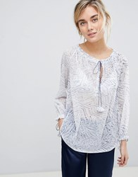See U Soon Tunic Blouse With Drawstring Detail Blue