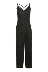 Topshop Glitter Strappy Culotte Jumpsuit Gold