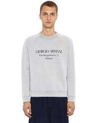 Giorgio Armani Address Print Cotton Sweatshirt Grey