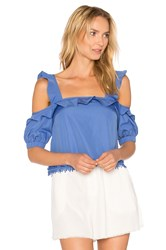 Nicholas Square Ruffle Top Blue