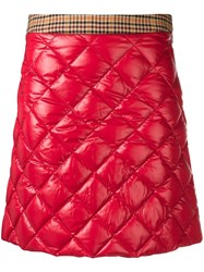Moncler Quilted Mini Skirt Red