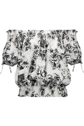 W118 By Walter Baker Kiana Shirred Printed Voile Top Light Gray