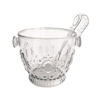 Baci Milano Elegance Ice Bucket With Tongs Clear