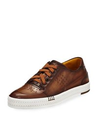Berluti Playtime Perforated Leather Sneaker Tobacco