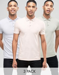 Asos 3 Pack Muscle Pique Polo Shirt In Pink Green Blue Save Vintagelace Hvar Suc Multi