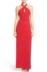 Ali And Jay Women's Cutout Halter Gown Crimson