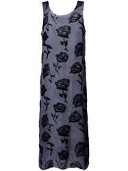 Aries Sheer Rose Print Dress Grey