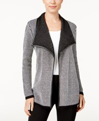 Jm Collection Contrast Trim Open Front Cardigan Only At Macy's Deep Black