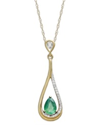 Macy's 14K Gold Necklace Emerald 5 8 Ct. T.W. And Diamond Accent Pear Shaped Drop Pendant Green