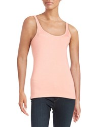 Lord And Taylor Ribbed Cotton Tank Grapefruit