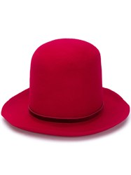 Ann Demeulemeester Large Fedora Hat Red