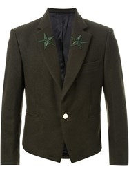 Dresscamp Star Embroidered Lapel Blazer Green