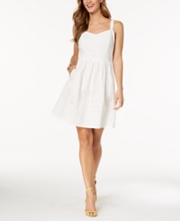 Nine West Embroidered Eyelet Fit And Flare Dress White