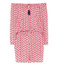Tory Burch Primrose Floral Printed Jumpsuit Red