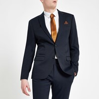 River Island Navy Textured Slim Fit Suit Jacket