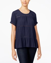 One Hart Juniors' Short Sleeve Crochet Inset Top Only At Macy's Navy Blue