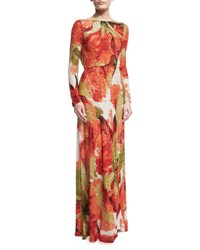 Naeem Khan Beaded Floral Long Sleeve Gown With Cowl Back Orange