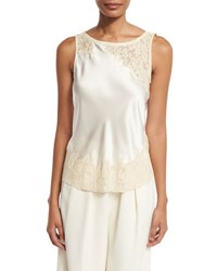 Elizabeth And James Fiora Sleeveless Silk Satin Top Ivory
