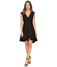 Halston Cap Sleeve V Neck Structured Dress With Hi Lo Skirt Black Women's Dress