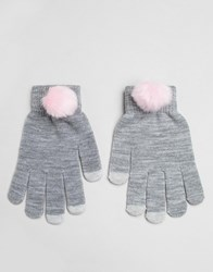 7X Pom Pom Gloves Grey