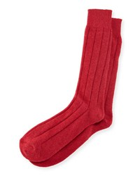 Neiman Marcus Men's Ribbed Cashmere Socks Red