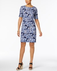 Karen Scott Floral Print T Shirt Dress Only At Macy's Intrepid Blue Combo