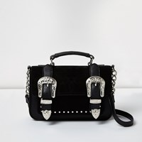 River Island Womens Black Western Buckle Mini Satchel Bag
