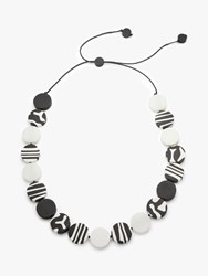 One Button Zebra Motif Round Resin Beads Long Necklace Black White
