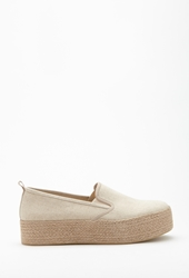 Forever 21 Canvas Raffia Sole Flatform Slip Ons Cream