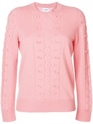 Barrie Frayed Knit Jumper Pink And Purple