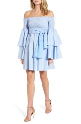 Stylekeepers Women's Disco Fever Off The Shoulder Dress Checkered Sky Blue