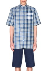Givenchy Button Down Shirt In Blue Checkered And Plaid